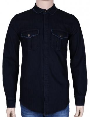 Мужская джинсовая рубашка, темно-синего цвета, длинный рукав (Арт. T 3037)