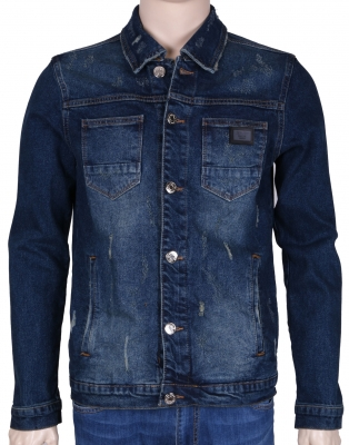 Мужская джинсовая куртка синего цвета  (Арт. TKY 3043)