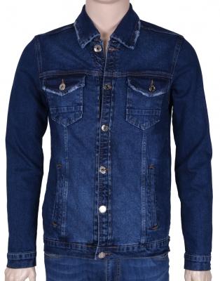 Мужская джинсовая куртка синего цвета  (Арт. TKY 3044)