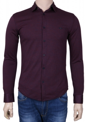 Стильная молодежная рубашка бордового цвета в мелкий узор, длинный рукав (Арт. T 3073)