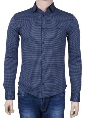 Стильная молодежная рубашка синего цвета в мелкий узор, длинный рукав (Арт. T 3074)