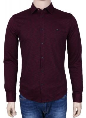 Стильная молодежная рубашка бордового цвета в мелкий узор, длинный рукав (Арт. T 3076)
