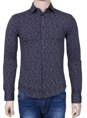 Стильная молодежная рубашка синего цвета в мелкий узор, длинный рукав (Арт. T 3078)