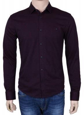 Стильная молодежная рубашка бордового цвета, длинный рукав (Арт. T 3079)