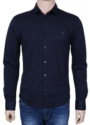 Стильная молодежная рубашка темно-синего цвета, длинный рукав (Арт. T 3080)
