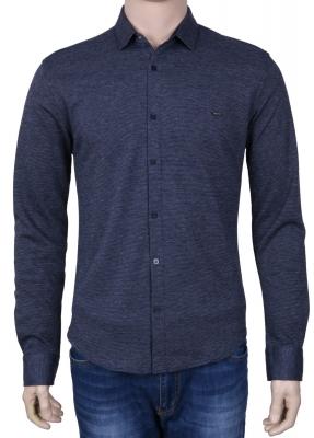Стильная молодежная рубашка синего цвета, длинный рукав (Арт. T 3081)