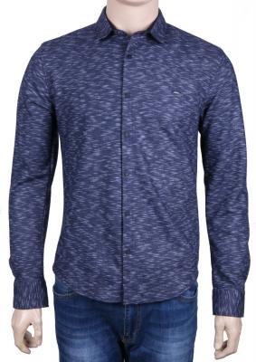 Молодежная рубашка в мелкий узор, длинный рукав (Арт. T 3083)