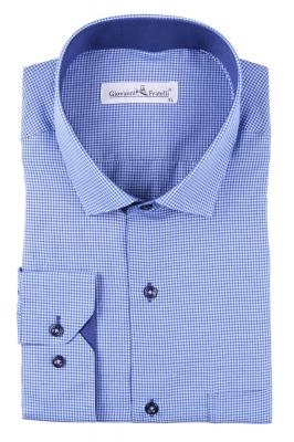 Мужская классическая рубашка в синюю клетку (Арт. T 3087)