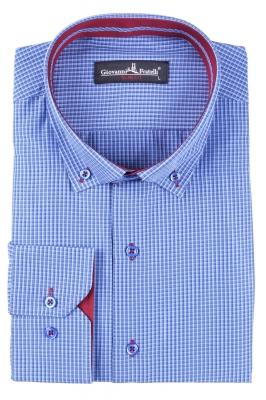 Классическая рубашка в клетку с длинным рукавом  (Арт. T 3095)