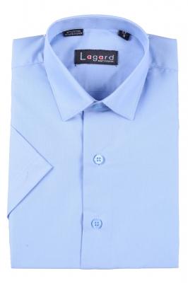 Детская однотонная голубая рубашка с коротким рукавом (Арт. B SKY 0927K)