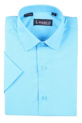 Детская однотонная рубашка с коротким рукавом (Арт. B SKY 0932K)