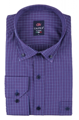 Классическая рубашка в клетку с длинным рукавом (Арт. T 3130)