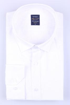 Молодежная однотонная белая рубашка, длинный рукав трансформер (Арт. T 3134)