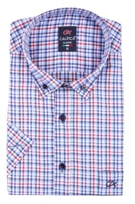 Классическая рубашка в клетку с коротким рукавом (Арт. T 3142K)