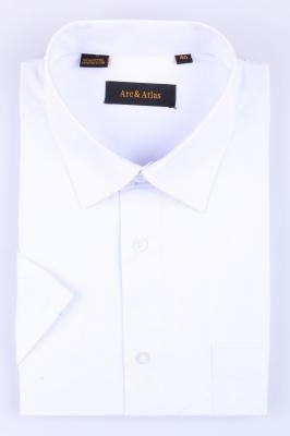 Рубашка мужская классика однотонная цвет белый с коротким рукавом (Арт. OD-005K)