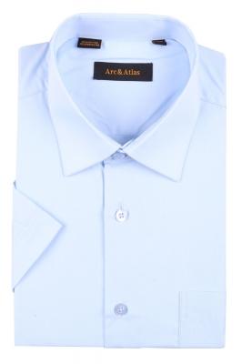 Рубашка мужская классика однотонная цвет голубой с коротким рукавом  (Арт. OD-007K)