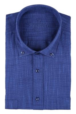 Мужская классическая однотонная рубашка, короткий рукав  (Арт. T 3246К)