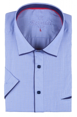 Мужская классическая рубашка в мелкую клетку, короткий рукав  (Арт. T 3248К)