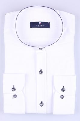 Мужская рубашка однотонная воротник стойка, рукав трансформер  (Арт. T 3267)