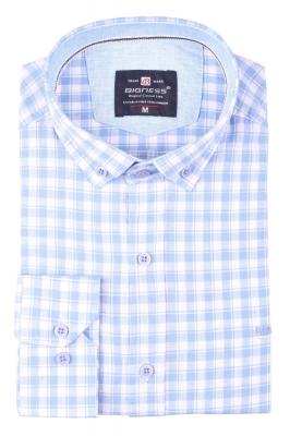 Стильная мужская рубашка в клетку, длинный рукав  (Арт. T 3399)