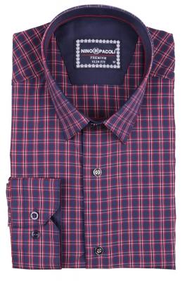 Стильная мужская рубашка в клетку, длинный рукав  (Арт. T 3402)