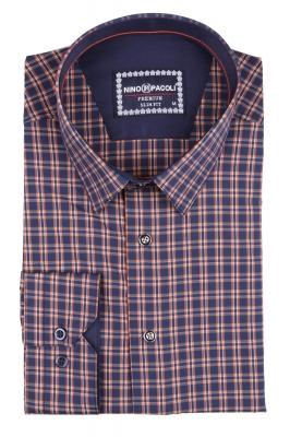 Стильная мужская рубашка в клетку, длинный рукав  (Арт. T 3403)