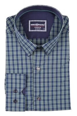 Стильная мужская рубашка в клетку, длинный рукав  (Арт. T 3404)
