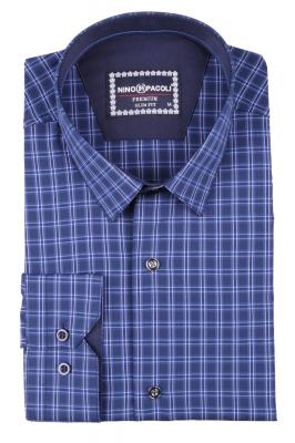 Стильная мужская рубашка в клетку, длинный рукав  (Арт. T 3405)