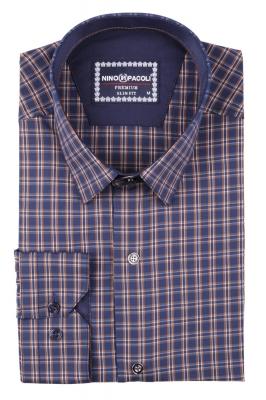 Стильная мужская рубашка в клетку, длинный рукав  (Арт. T 3406)
