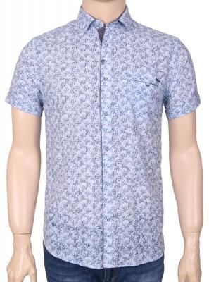 Мужская стильная рубашка в рисунок, короткий рукав  (Арт. T 3355К)