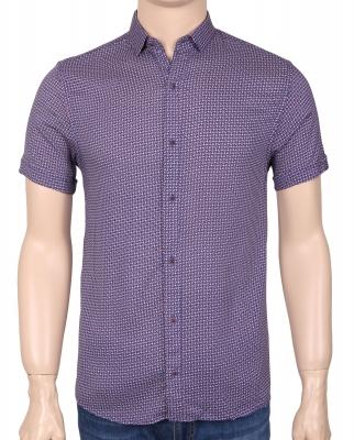 Мужская стильная рубашка в рисунок, короткий рукав  (Арт. T 3357К)
