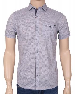 Мужская стильная рубашка в рисунок, короткий рукав  (Арт. T 3381К)