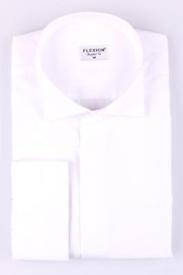 Мужская однотонная белая рубашка, длинный рукав  (Арт. T 3420)