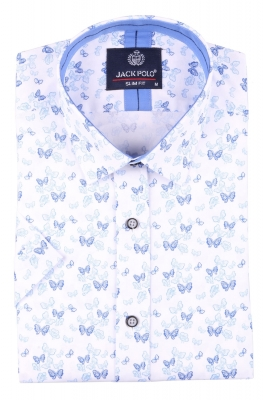 Мужская стильная рубашка в рисунок, короткий рукав  (Арт. T 3429К)
