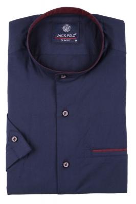 Мужская однотонная рубашка с воротником стойка, короткий рукав  (Арт. T 3445К)