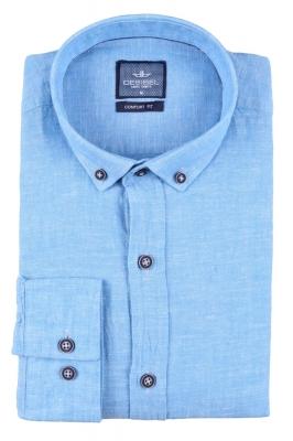 Стильная мужская однотонная рубашка, длинный рукав  (Арт. T 3469)