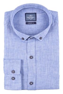 Стильная мужская однотонная рубашка, длинный рукав  (Арт. T 3474)