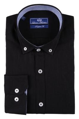Стильная мужская однотонная рубашка, длинный рукав  (Арт. T 3479)
