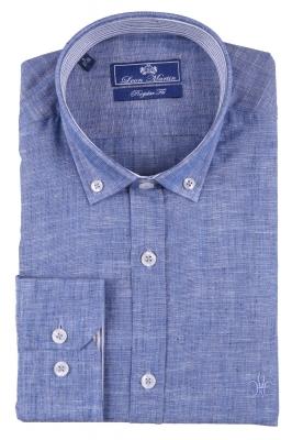 Стильная мужская однотонная рубашка, длинный рукав  (Арт. T 3480)