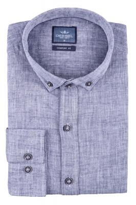 Стильная мужская однотонная рубашка, длинный рукав  (Арт. T 3472)