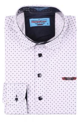 Детская рубашка белого цвета в мелкий узор, длинный рукав (Арт. TB 3560)