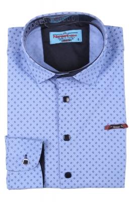 Детская рубашка голубого цвета в мелкий узор, длинный рукав (Арт. TB 3561)