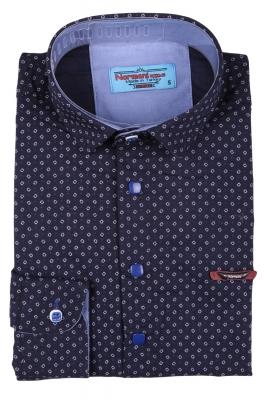 Детская рубашка темно-синего цвета в мелкий узор, длинный рукав (Арт. TB 3562)