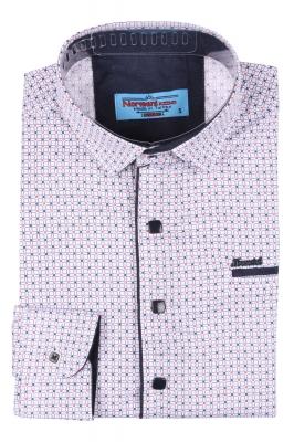 Детская рубашка белого цвета в мелкий узор, длинный рукав (Арт. TB 3566)