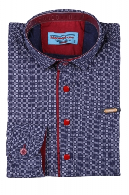 Детская рубашка темно-синего цвета в мелкий узор, длинный рукав (Арт. TB 3568)