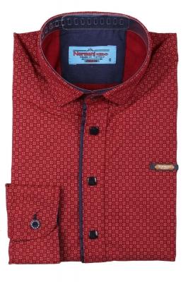 Детская рубашка красного цвета в мелкий узор, длинный рукав (Арт. TB 3569)