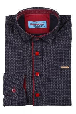 Детская рубашка темно-синего цвета в мелкий узор, длинный рукав (Арт. TB 3571)