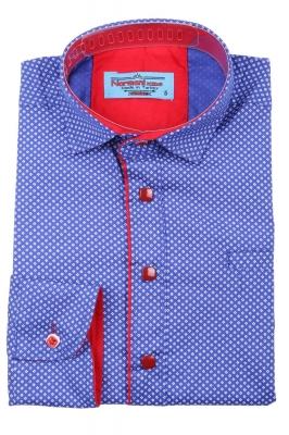 Детская рубашка синего цвета в мелкий узор, длинный рукав (Арт. TB 3572)