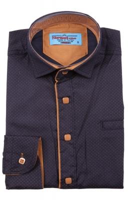 Детская рубашка темно-синего цвета в мелкий узор, длинный рукав (Арт. TB 3573)
