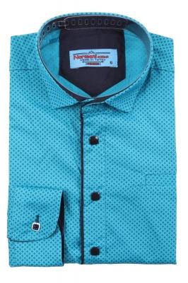 Детская рубашка бирюзового цвета в мелкий узор, длинный рукав (Арт. TB 3575)